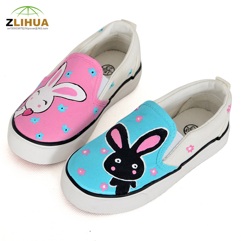 Shoes rabbit hand painting pattern children shoes child canvas shoes girls shoes foot wrapping<br><br>Aliexpress