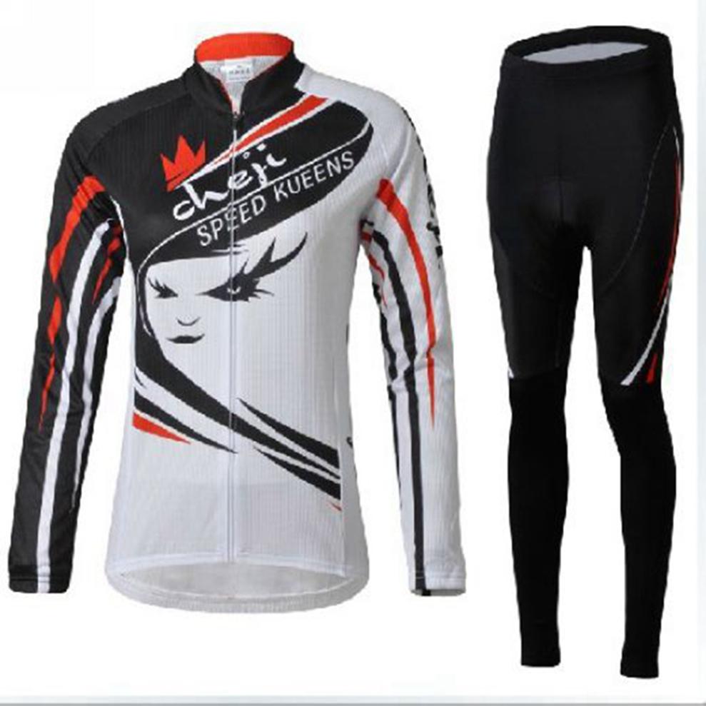 CHEJI Women Team Bike long sleeve cycling jersey set Ciclismo Clothing MTB Jersey pants Suit bike Cycling Clothing / Speed Kueen