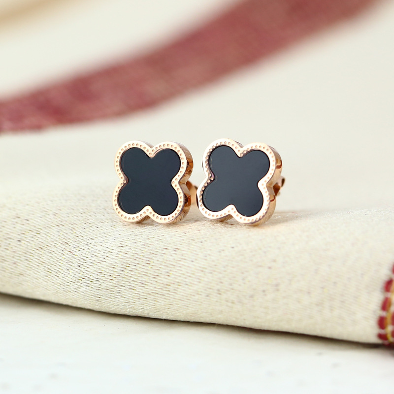 2015 Special Offer New Pendientes Brincos Earrings For Women Korean Female Gift Earrings Plated 18k Rose Jewelry Exports Clover(China (Mainland))