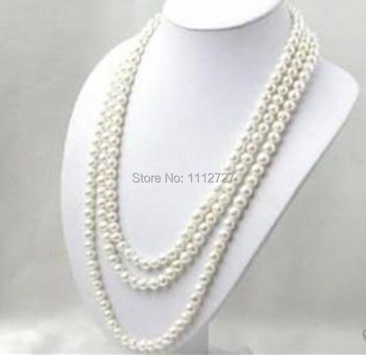LONG 80 INCHES 7-8MM WHITE AKOYA CULTURED PEARL NECKLACE beads jewelry making Natural Stone YE2077 Wholesale Price(China (Mainland))
