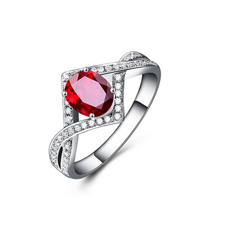 Classic Italy Ruby AAA CZ Diamond 18K White Gold Plated Wedding Ring For Women Engagement Jewelry Accessories Rings 2016 New(China (Mainland))