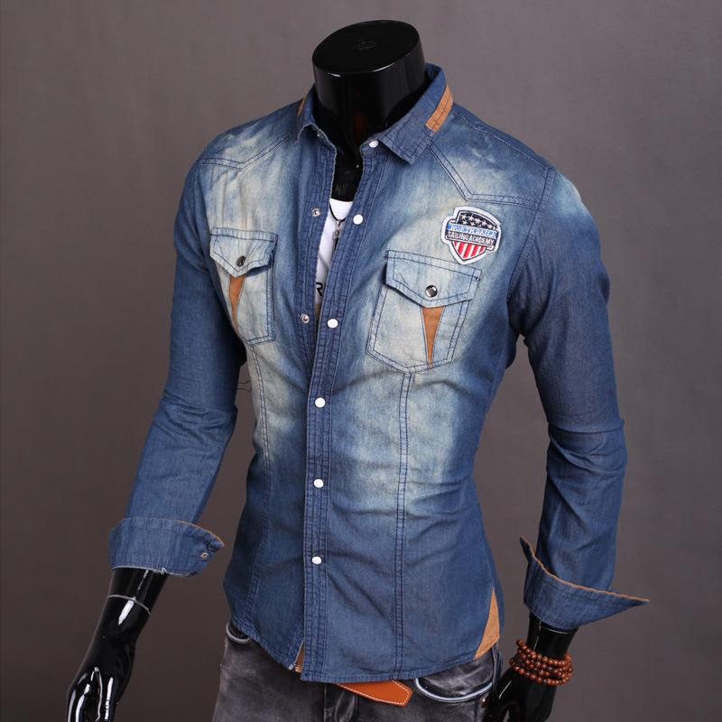 2015 New Real Camisa Masculina Shirts Men's Denim Casual Shirt Dress Clothes Long Sleeved Jeans Men Washing Aqua Mens M-xxl - eglemall store