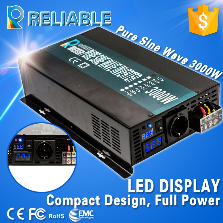 LED Display Off Grid Solar Inverter 3000Watt/3000W/3KW 12/24/48VDC to 110/220VAC 3000W Rated Pure Sine Wave Power Inverter(China (Mainland))