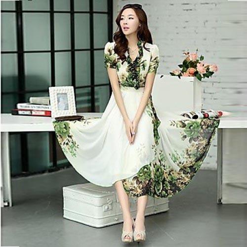Women Dress Maxi Dress Floral Print Chiffon Dress Summer 2015 Plus Size Casual Summer Dress For Party Beach Office(China (Mainland))