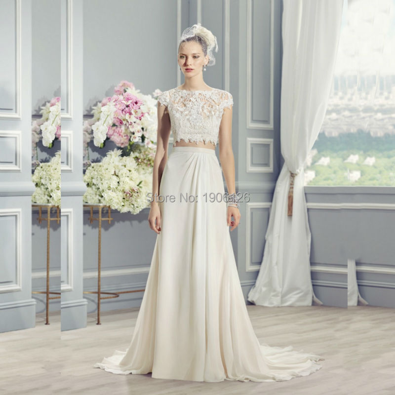 Off White Wedding Dresses : Off white lace two piece wedding dress chiffon bridal gown bride