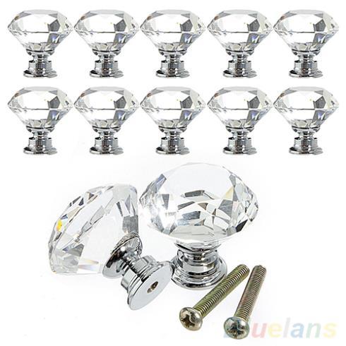 10Pcs 30mm Diamond Crystal Glass Alloy Door Drawer Cabinet Wardrobe Pull Handle Knobs 1PWU 1U7G 3BQ4(China (Mainland))