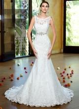 2015 New élégante robe de mariée Applique dentelle brillant robe de Noiva Casamento(China (Mainland))