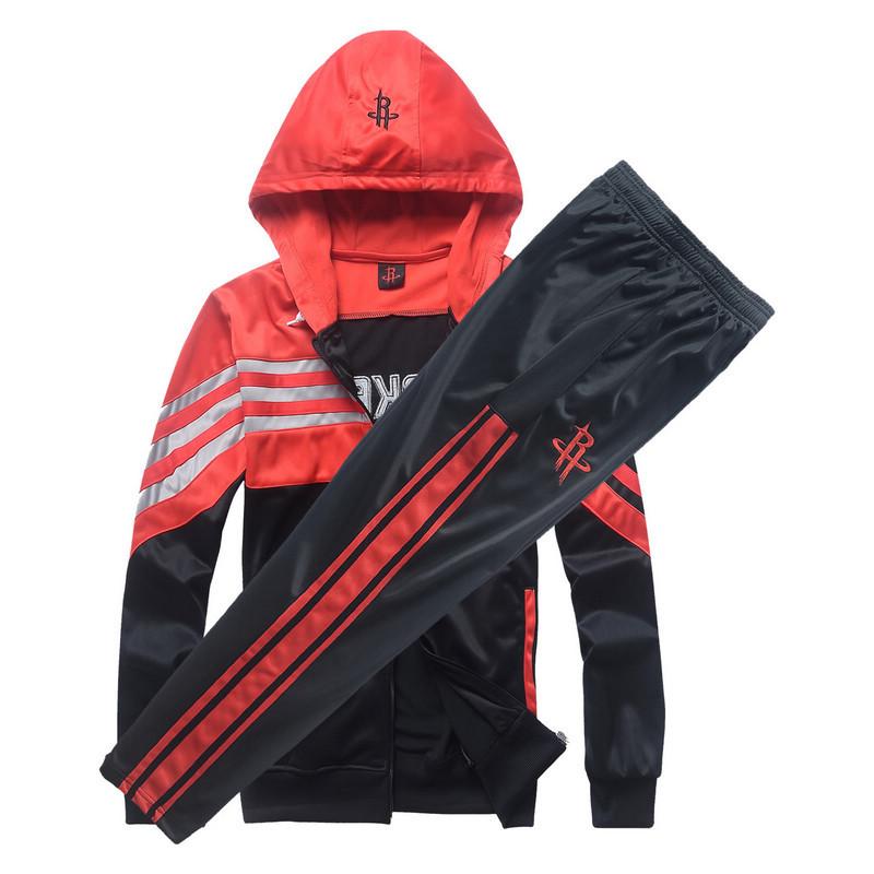 Free Shipping New Rocket Sport Suit Hooded Jacket Long Sleeve Trainning Jacket Basketball Trainning Set Men's Sport Siut(China (Mainland))