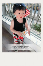 Retail 1-3years baby kids children Clothing boys Clothes rabbits cropped trousers pants Infant Garment 2014 new free shipping(China (Mainland))