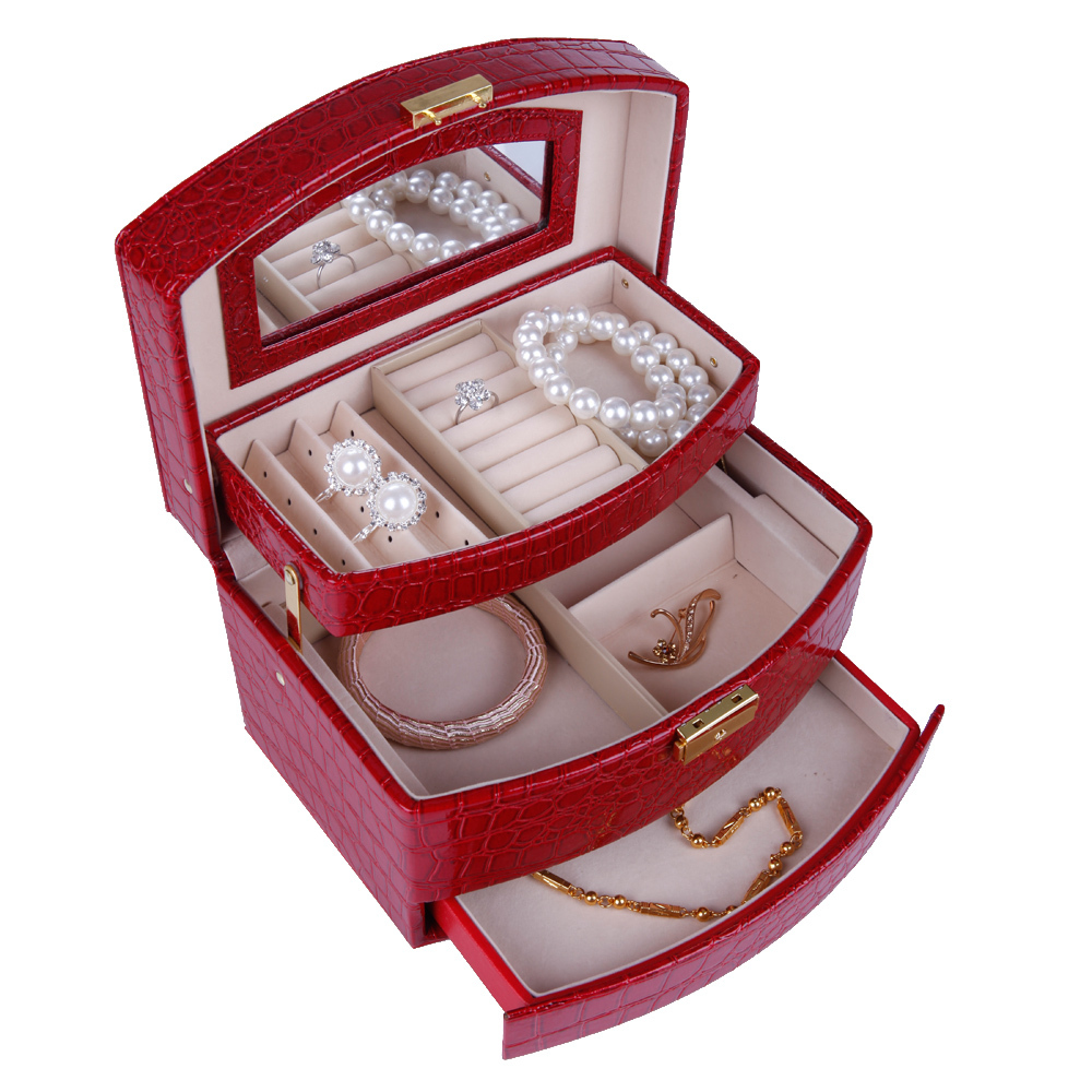 High quality caixa de joais Gift Jewelry Storage Box birthday gift Imitation Leather Arched Jewelery earring Carrying Case(China (Mainland))