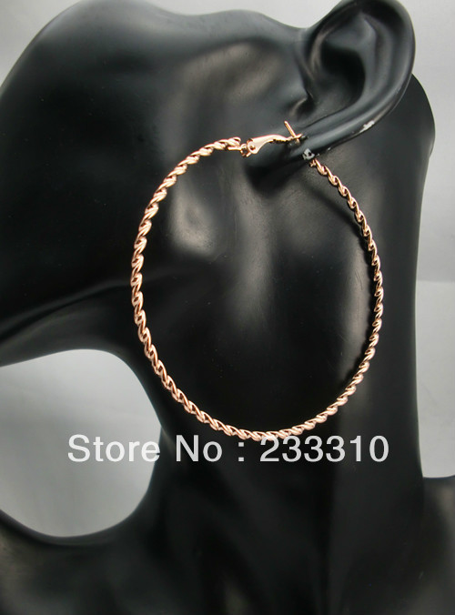 10Pairs Good Quality Round Gold plated Twist Hoop Earrings Hip Hop Wave Design-7cm(China (Mainland))