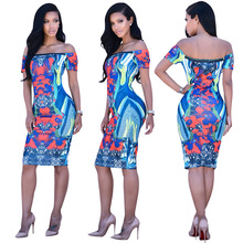 new bohemian tribe print summer dress 2016 sexy slash neck bandage bodycon party dresses plus size