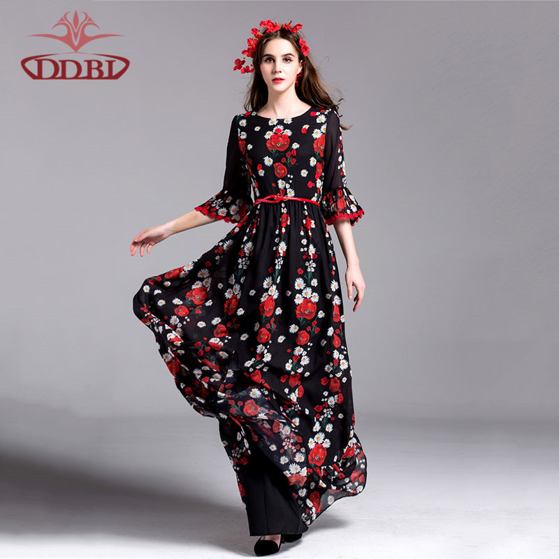 white red flowers flare half sleeves black floor length runway 2016 high quality brand style font