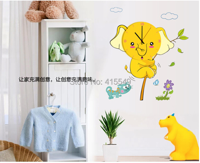 Free Shipping Home Decor Hello Kitty Small Yellow Cut Elephant Watch Children 39 S Room Wall