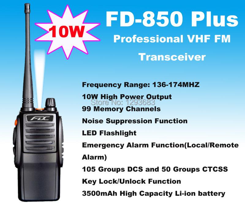 New 2014 portable radio transmitter 10W FD-850 Plus VHF 136-174MHz Professional FM Transceiver waterproof walkie talkie 10km(China (Mainland))