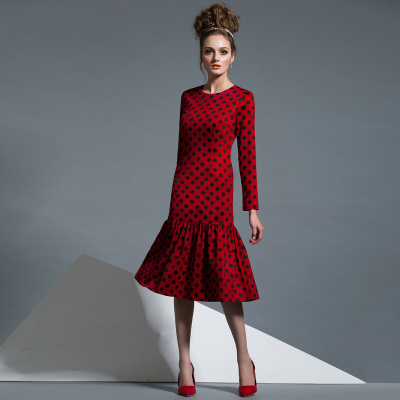 European And American Fall Winter Fashion For Women Vintage Dots Printed Knee-length Dresses Long Sleeve Cute Celebrity Dress(China (Mainland))