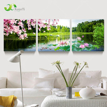 3 Panel Modern Beautiful Flower Painting Picture Cuadros Landscape Painting Canvas Art Home Decor For Living Room No Frame PR202(China (Mainland))