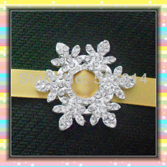 200pcs/lot 10mm Snowflake Shape Ribbon Buckle Slider ,Wedding Invitation Decoration ,Rhinestone Embelishment/Wholesale