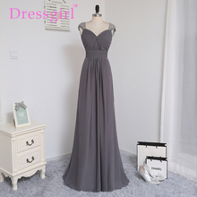 Dressgirl 2016 Cheap Bridesmaid Dresses Under 50 A-line Cap Sleeves Gray Chiffon Lace Open Back Wedding Party Dresses