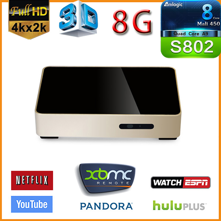 Телеприставка TV receiver M8Amlogic S802 Android 2G /8G 4K HDMI GPU Mali450 XBMC 2.4 G/5 g WiFi Set-top box mxiii 4k s802 2g ram 8g rom tv box