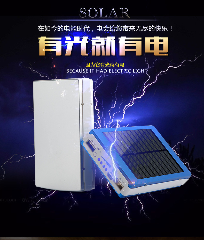 High recommend 10000mAh Solar Power Bank External solar charger powerbank for all mobile phone for outdoors