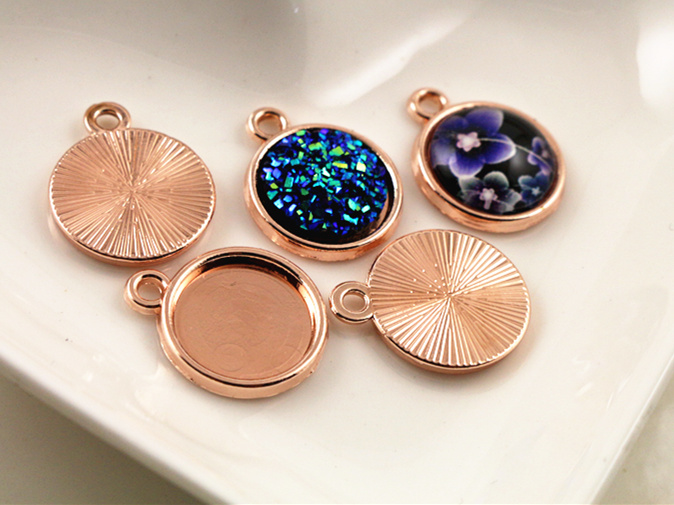 20pcs 12mm Inner Size Rose Gold Simple Style Cabochon Base Cameo Setting Charms Pendant (A2-34)(China (Mainland))