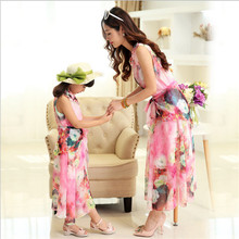 NEW Baby&Mom Dress,Girl Dress,Women Kids Bohemia chiffon dress beach Dress Family Look Clothing Family Matching Outfits ZM6810