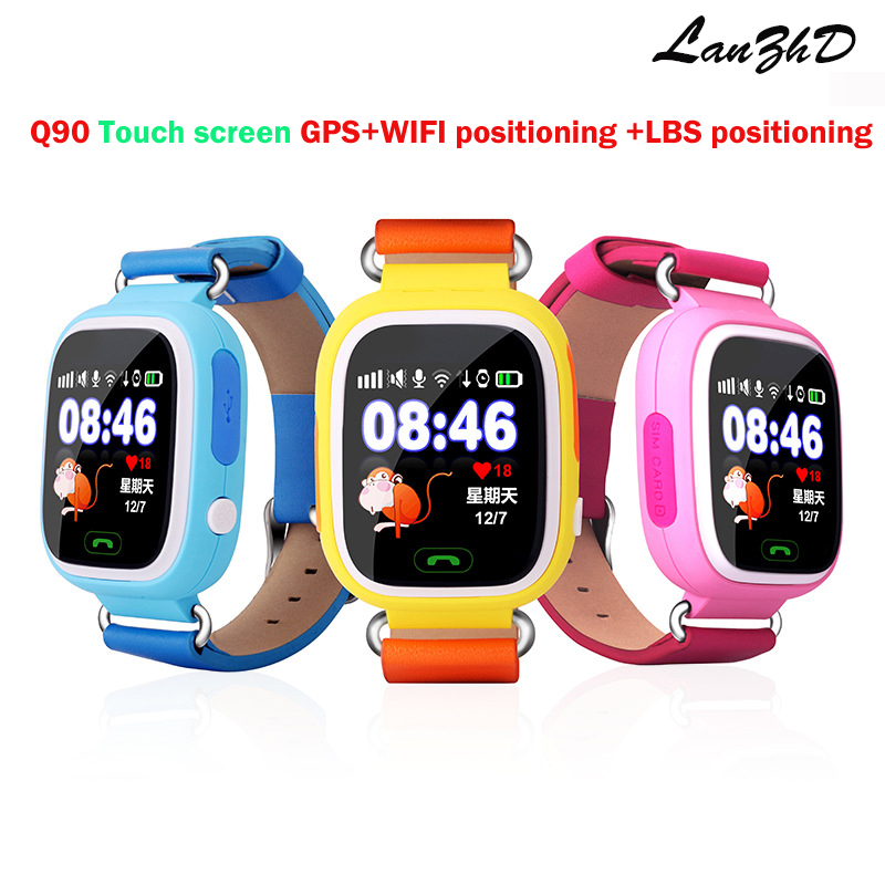 Colorful touch screen kids gps Tracker GPS Kid Positioning WIFI smart watch Q90 SOS Smartwatch IOS Android Lost Monitor