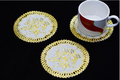 free shipping VISAD 12 pcs lot golden eco friendly PVC round Mats Pads in Kitchen Dining