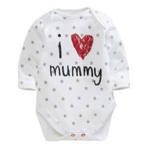 2015 baby clothing unisex baby rompers printed love mummy and daddy bebe roupas meninos