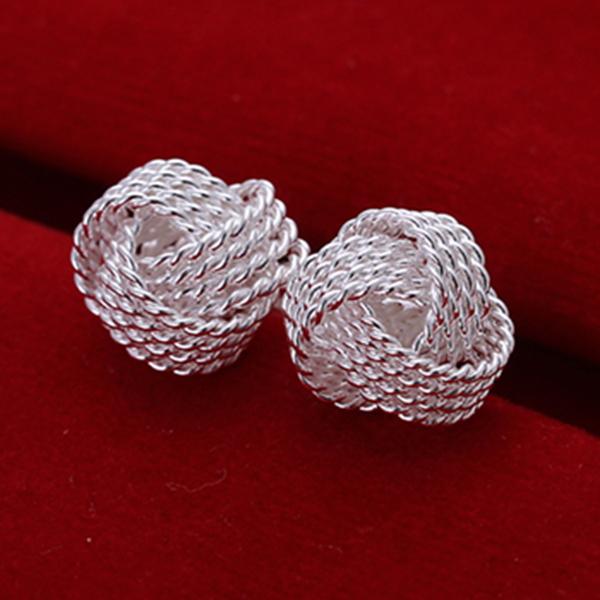 Free shipping wholesale 925 silver earrings,BingBANGQiu earrings,high quality,fashion/classic jewelry weaving stud(China (Mainland))