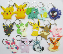 16 pcs/lot Anime Pokemon figures Pocket Monster pikachu,Bulbasaur,Squirtle,Gastly,Chansey,Eevee pvc figure keychain pendant - Long Animation Culture Trading Co.,Ltd Store store
