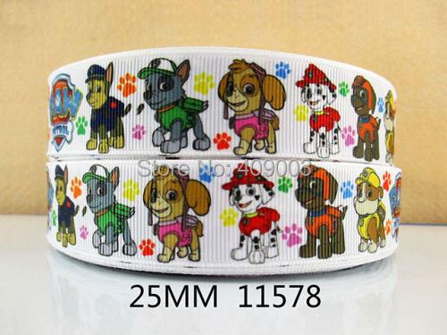 50Y11578 kerryribbon freeshipping 1''(25mm) cartoon dog printed Grosgrain ribbon Clothing accessories Bow Material Gift Wrapping(China (Mainland))