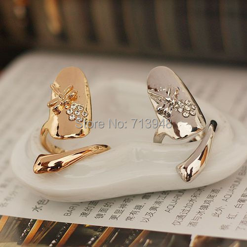New Fashion Dragonfly Ring nail ring joint Sweet Jewelry Womens Cool Silver Plated Lovers' - Yiwu Mekey Stationery Co., Ltd store