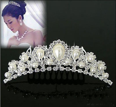 Elegant Imitation Pearl Rhinestone inlay Bridal Crown Tiara Wedding Bride Hair Jewelry Comb 2015 Freeshipping(China (Mainland))