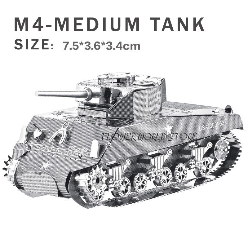 2015 New creative 3D metal model 3D puzzles Creative DIY M4- heavy tanks Jigsaws Adult/Children gifts toys World War II tanks(China (Mainland))