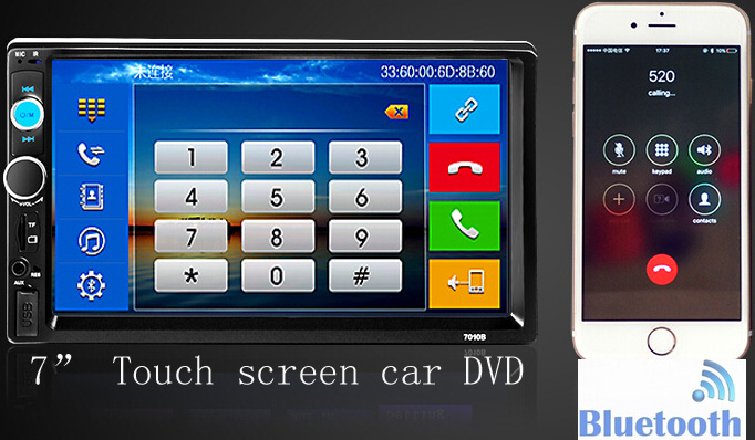 2 Din Car DVD Player 7 inch HD In Dash Touch Screen Bluetooth Car Stereo(China (Mainland))