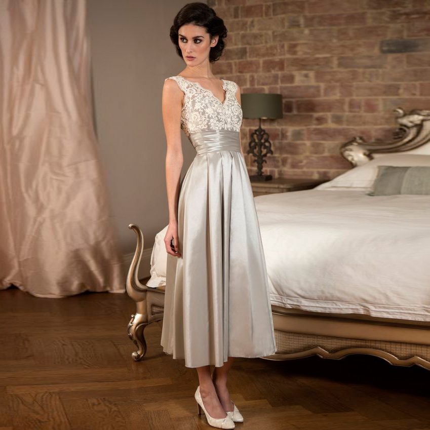 Elegant tea length silver lace satin bridesmaid dresses for Silver tea length wedding dresses