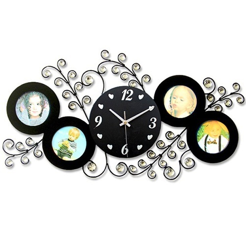 gz001 HOT 1pcs Photo frame wall clock fashionable sitting room creative clock art can put photos silent mute clocks and watches