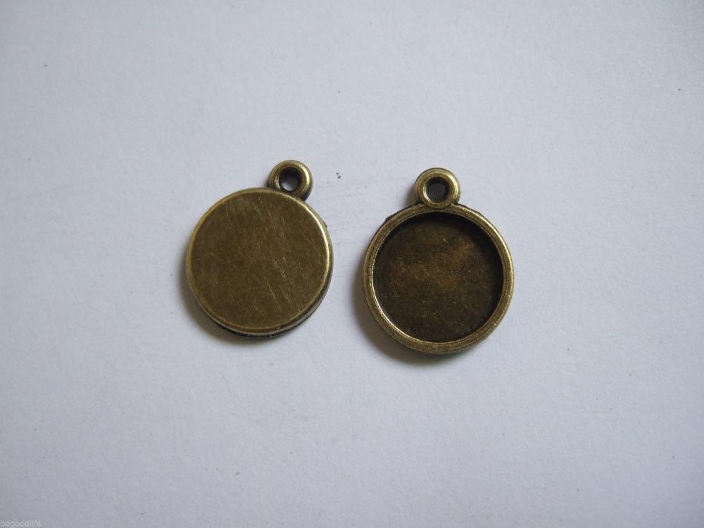 50 Bronze Tiny 12mm Round Charm PENDANT TRAYS Blank Bezel/Cabochon Setting Diy Accessories Fittings(China (Mainland))