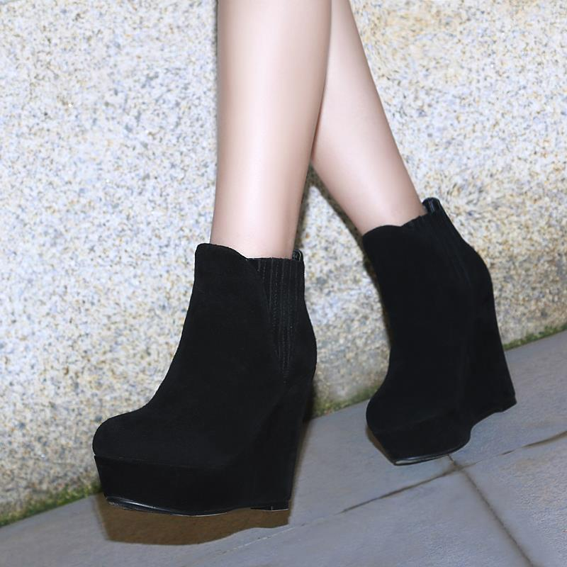 2016 new arrive sexy fashion ankle boots wedges high heels elastic band women boots round toe solid autumn platform shoes<br><br>Aliexpress