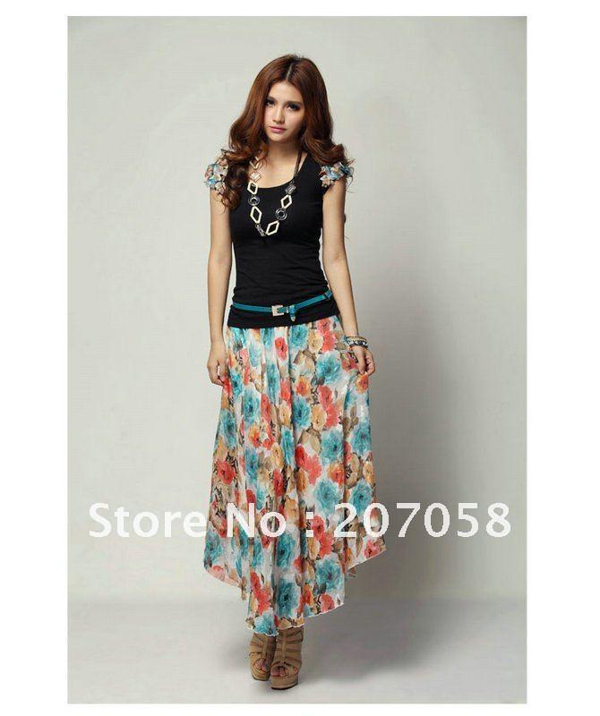 chiffon skirt set top skirt belt fashion top with chiffon