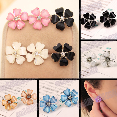 Free Shipping Zinc Alloy Cute Candy Color Clover F...