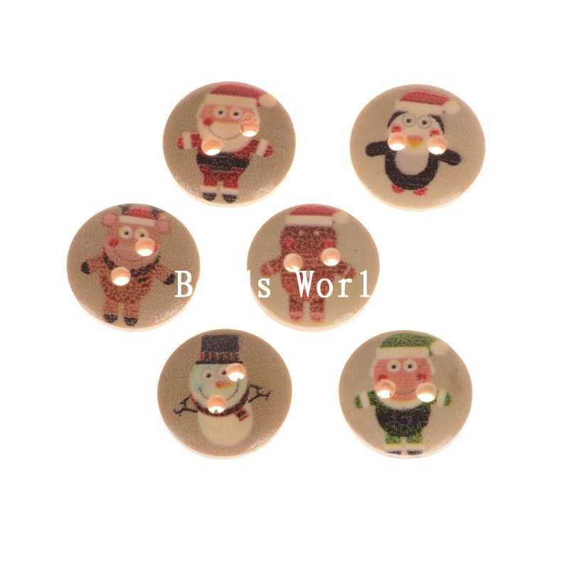 Rushed Wooden Buttons Christmas !! 100 Pcs Mixed Xmas Cartoon Wood Sewing Decorative Buttons Scrapbooking 15mm(w05915 X 1)(China (Mainland))