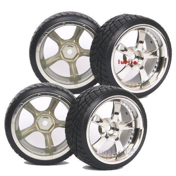 1022-6013 4PCS RC 1/10 On Road Model Car Hard Drift Tyre Tires Silver Wheel Rim