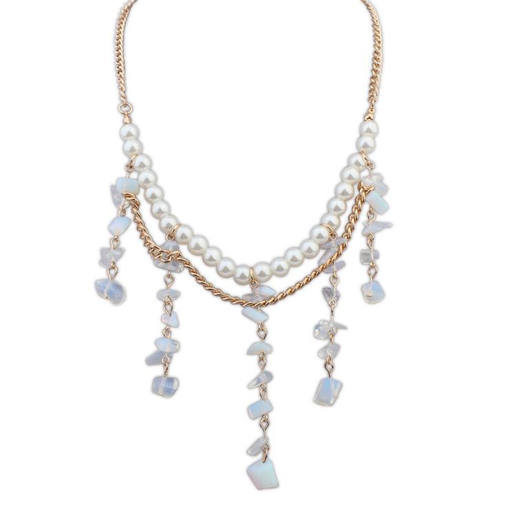 Европейский и американский дикий природный малый камень белый жемчуг ожерелье сплава имитация жемчужные смола ожерелье
