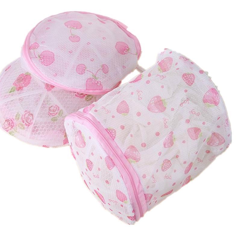 Circular wash pink bra washing clothes portable bag plastic structure of washing underwear folding help wash bra protection bag(China (Mainland))