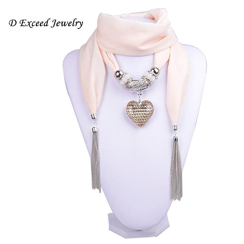 Milky White Crystal Heart Pendant Scarf Women Desigual Jewelry font b Tartan b font Necklace Crystal
