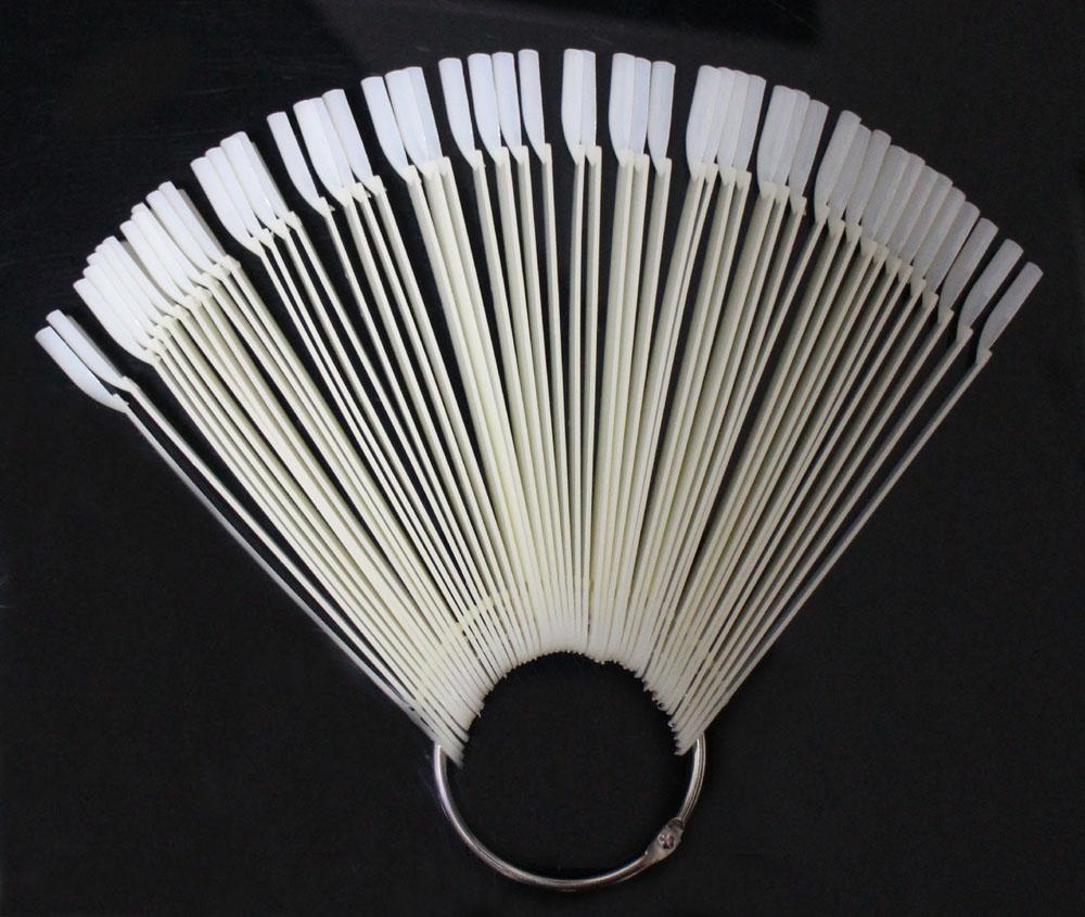 ***Natural Color***50pcs With Metal Ring Prastic False Nails Art Tips Sticks Polish Display Fan Board Nails Tools#ND-50D