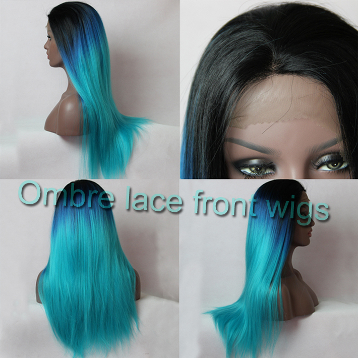 Cheap synthetic ombre lace front wig glueless three tone 1B&amp;blue&amp;gree ombre lace wig synthetic heat resistant hair black women<br><br>Aliexpress